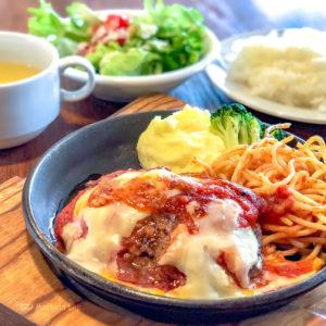 ビストロ ISOMARU 町田店の「トマトチーズハンバーグ」の写真
