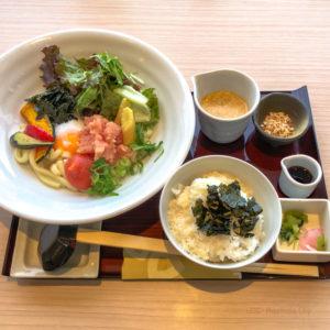 花旬庵(かしゅあん)町田モディ店の「夏野菜と博多明太子の冷やしうどんセット」の写真