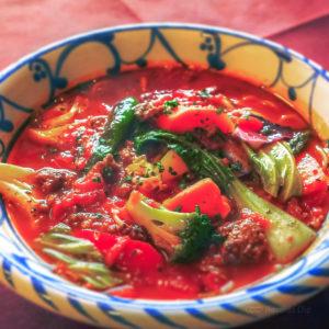 エルヴェッタの「野菜畑のトマトスープパスタ」の写真