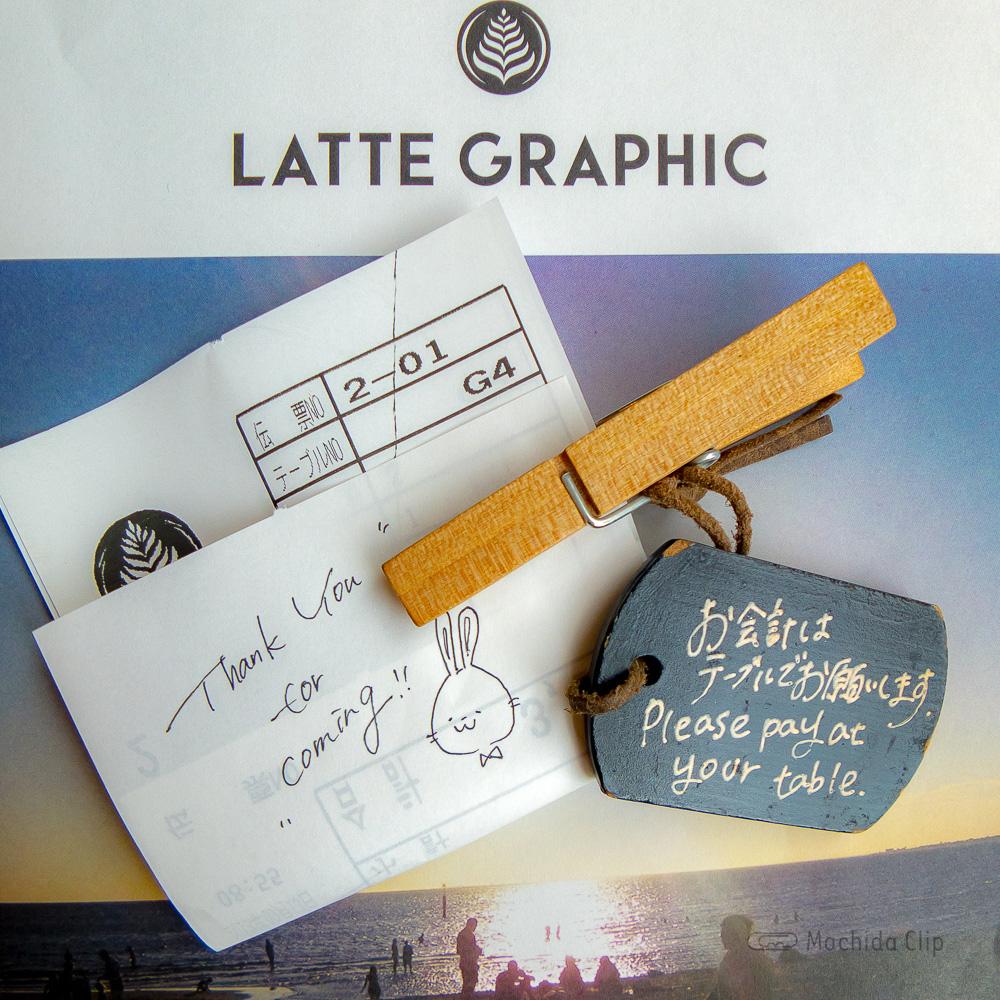 LATTE GRAPHIC(ラテグラフィック) 町田店の手書きコメント付きのレシートの写真
