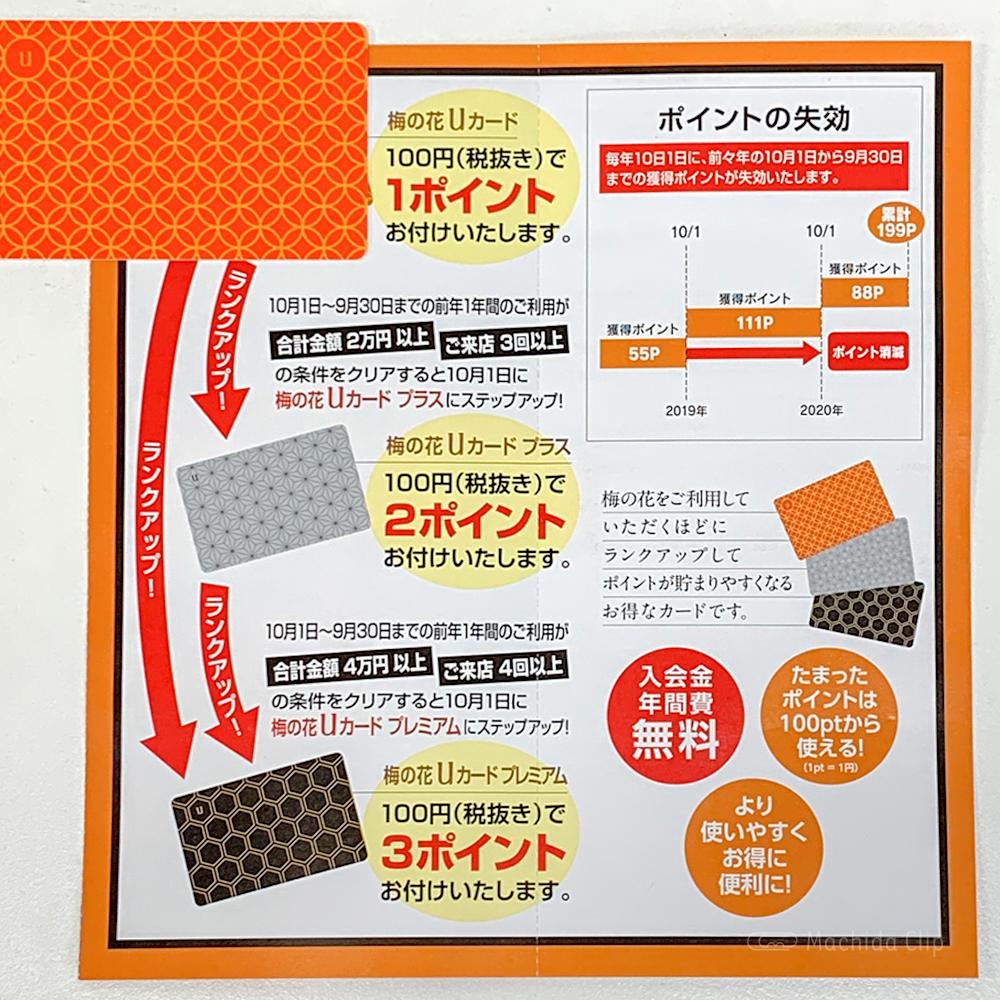 梅の花 町田店のポイントカードの写真